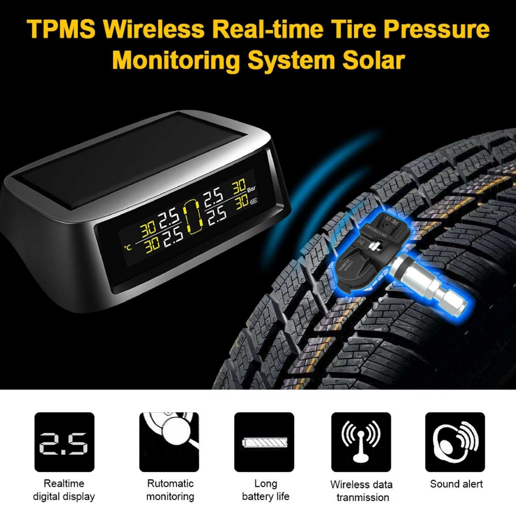 TPMS tire Pressure Monitoring System, Solar Wireless and USB Charging Detection System with 4 Internal Sensors (Black)