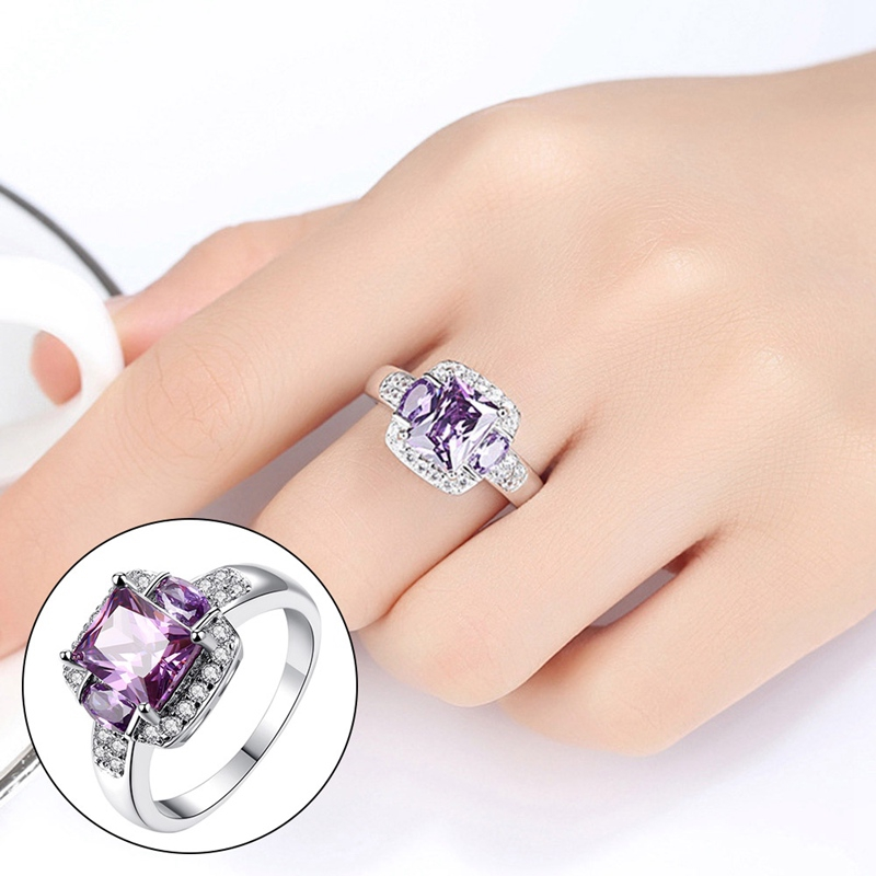LOVELY 2 CT AMETHYST ROUND CUT 925 STERLING SILVER RING SIZE 5-10