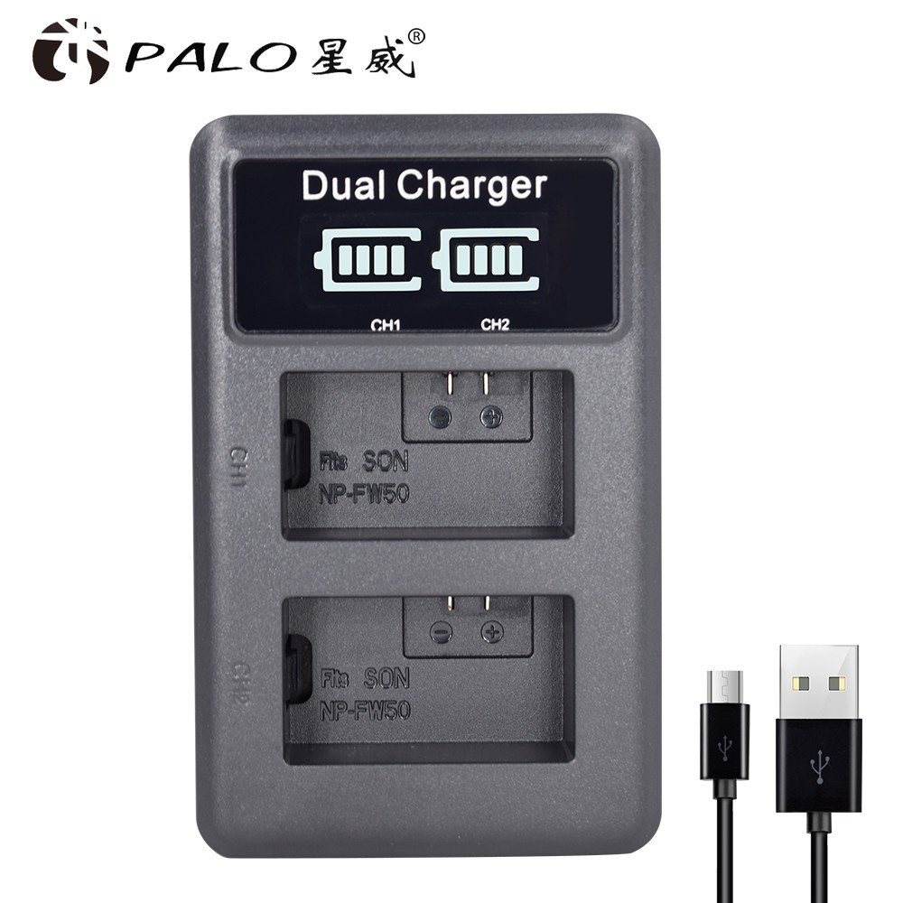 Professional Sale Palo Np-fw50 Np Fw50 Lcd Usb Dual Charger For Sony Alpha A6500 A6300 A7 7r A7r A7r Ii A7ii Nex-3 Nex-3n Nex-5 Accessories & Parts