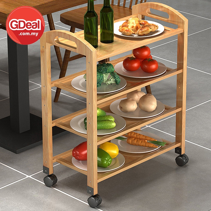 GDeal Multi Layer Kitchen Restaurant Wooden Dish Rack With Wheels Troli Makanan ترولي ماكنن