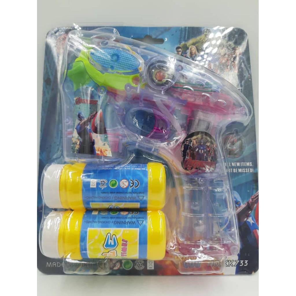 FREE BATTERY Bubble Gun with LED light and sound pony.hello kitty.avangers sabun belon.
