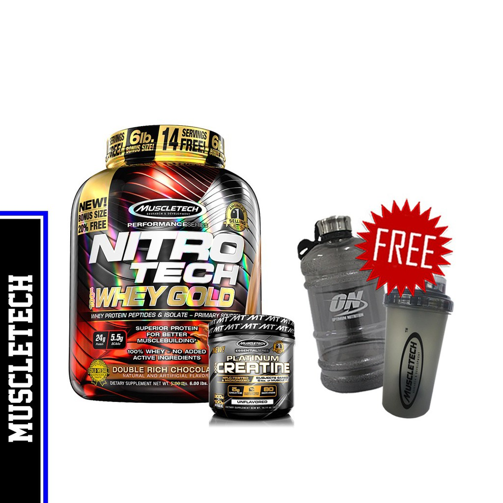 MuscleTech Nitro Tech 100% Whey Gold, 5 3lbs+Platinum 100% Micronized  Creatine