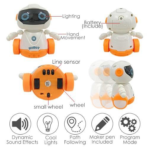 READY STOCK 0🌹PEN INDUCTIVE ROBOT / ALAT PERMAINAN ROBOT BERJALAN IKUT ARAH LUKISAN / PEN ROBOT