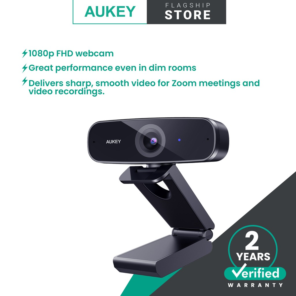 Aukey PC-W3 Impression 1080p Webcam Live Streaming Camera with Stereo Microphone