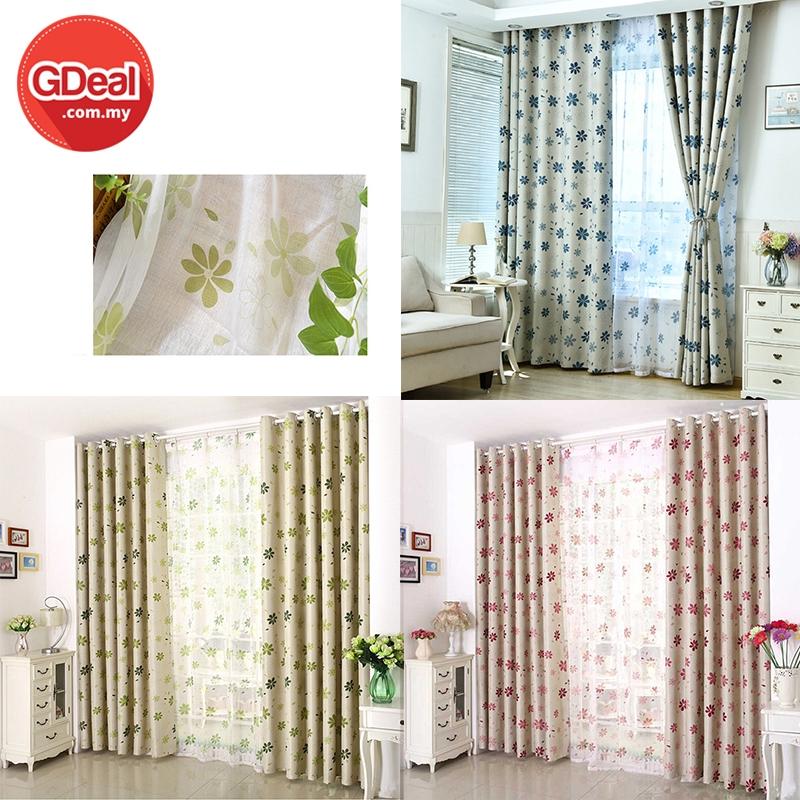 GDeal Window Curtain Tulle Voile Drape Panel Sheer Flower Pattern Window Curtains Langsir 100cm x 250cm