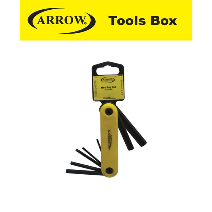 ARROW A30100 7 PIECES FOLD HEX WRENCH SET   EASY USE SAFETY GOOD QUALITY