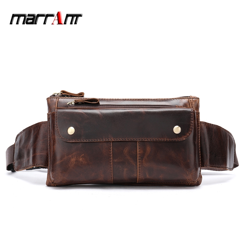 Designed For Men Classic Leather Waist Pack Fanny Pack Shoulder Backpack Sport Pouch Travel Hiking Bum Bag. brown