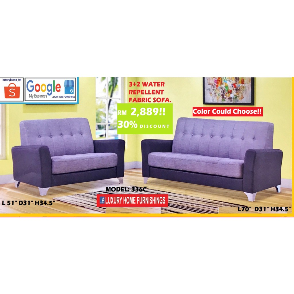 SOFA SET 2 +3 SEATER, WATER REPELLENT FABRIC, RM 2,889!! ENJOY 30% OFF!!
