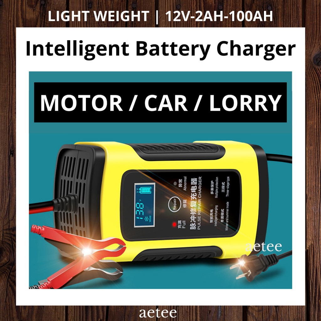 12V Intelligent Battery Charger | Suitable for SUV 12V-2AH-100AH Motorcycle Car | Pulse Repair Charger [aetee]