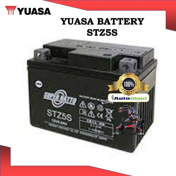 YUASA BATTERY STZ5S SHOGUN BRAND VRLA HONDA EX5/WAVE125/YAMAHA Y15ZR/LC135 V2-V6