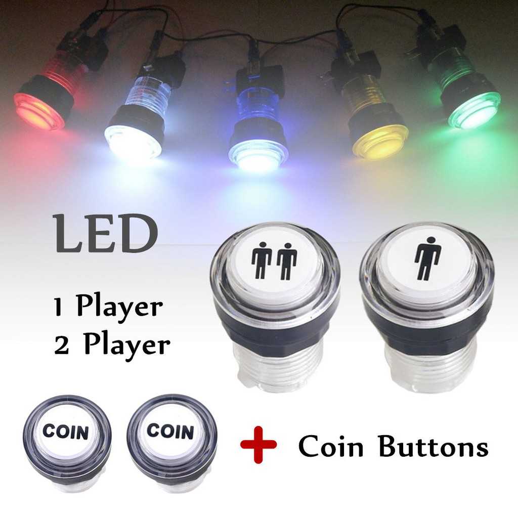 4x LED Arcade Game Start Push Button Kit Part 1 Player+2 Player+Coin Buttons