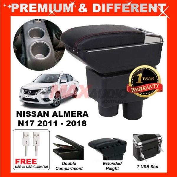 [FREE GIFT Gift] NISSAN ALMERA N17 2011 - 2019 ADJUSTABLE ARMREST 7 USB PORT