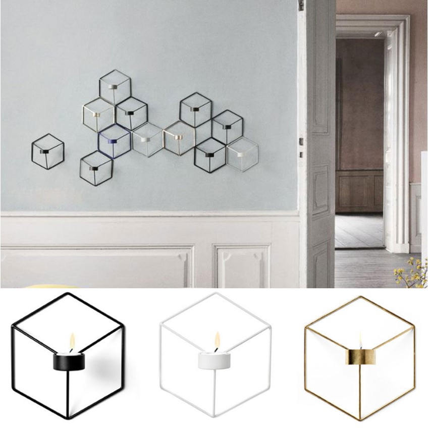 Nordic Style 3D Geometric Candlestick Metal Wall Candle Holder Sconce Decor CHZ