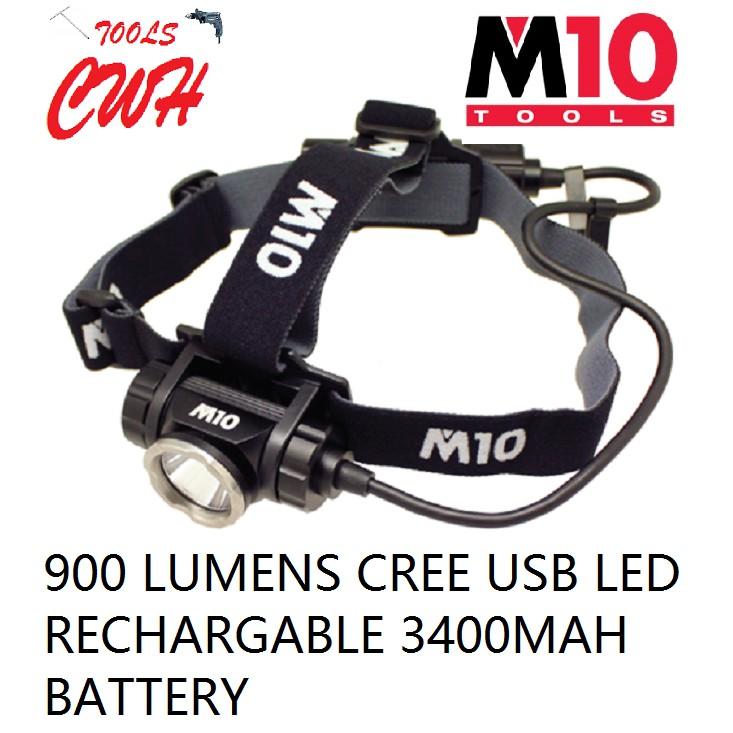 900 LUMENS LE-345 M10 ALUMINIUM BODY HEAVY DUTY RECHARGEABLE 9W LED HEAD LIGHT FLASHLIGH TORCHLIGHT LAMP NICRON CWH TOOL