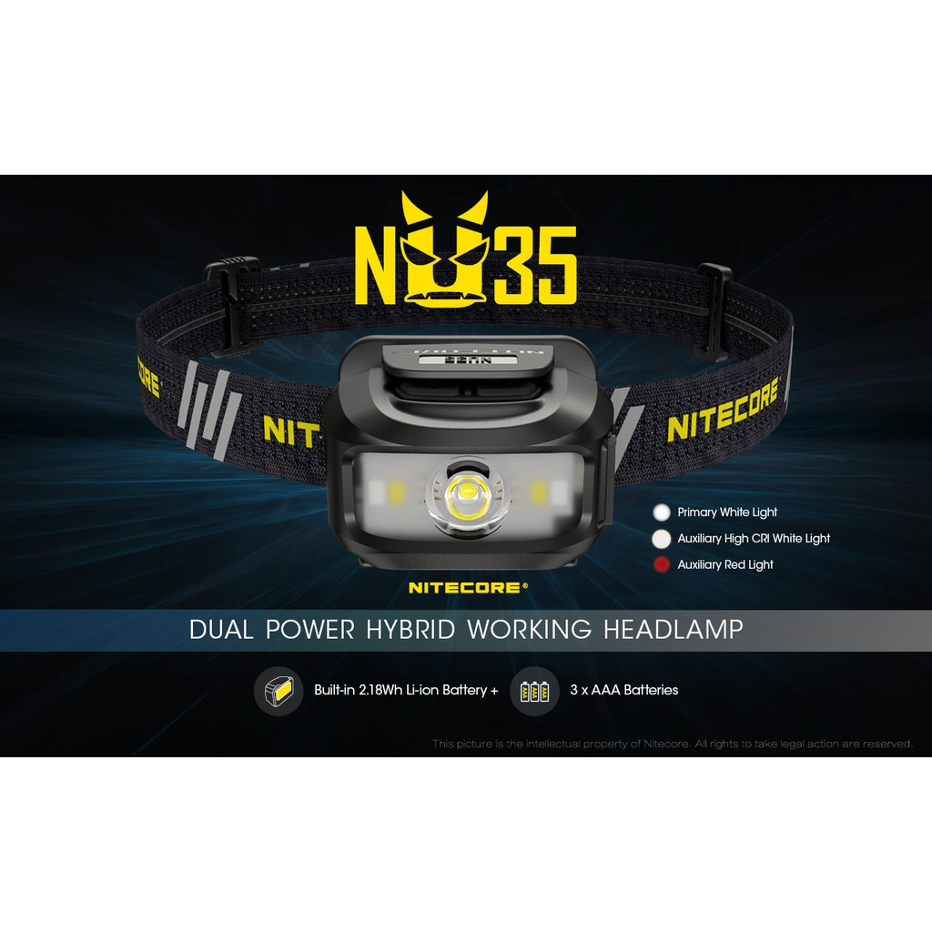 Nitecore NU35 460L CREE XP-G3 S3 LED Rechargeable Headlamp