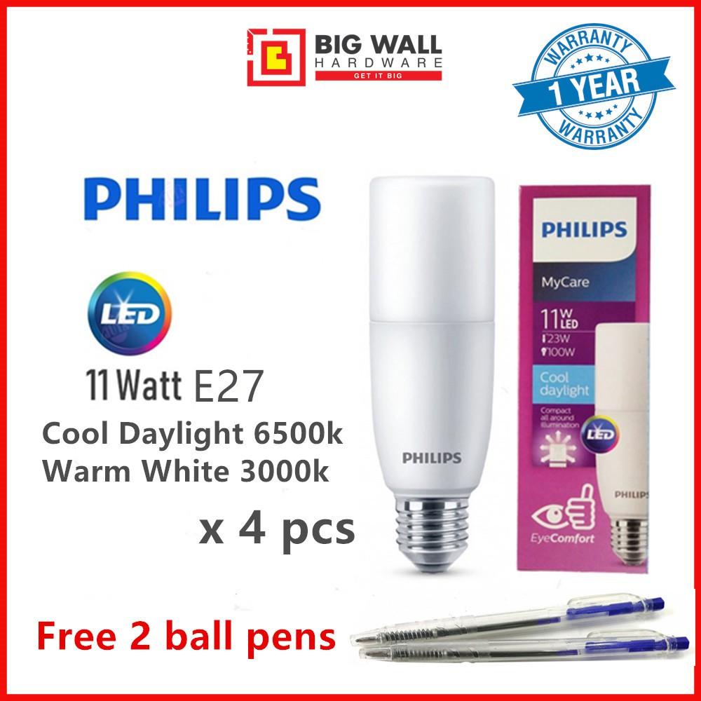Philips MyCare LED Stick Bulb 11W Cool Daylight 6500K/Warm White 3000K E27 Eye Comfort Technology (4 units) Lampu Siling