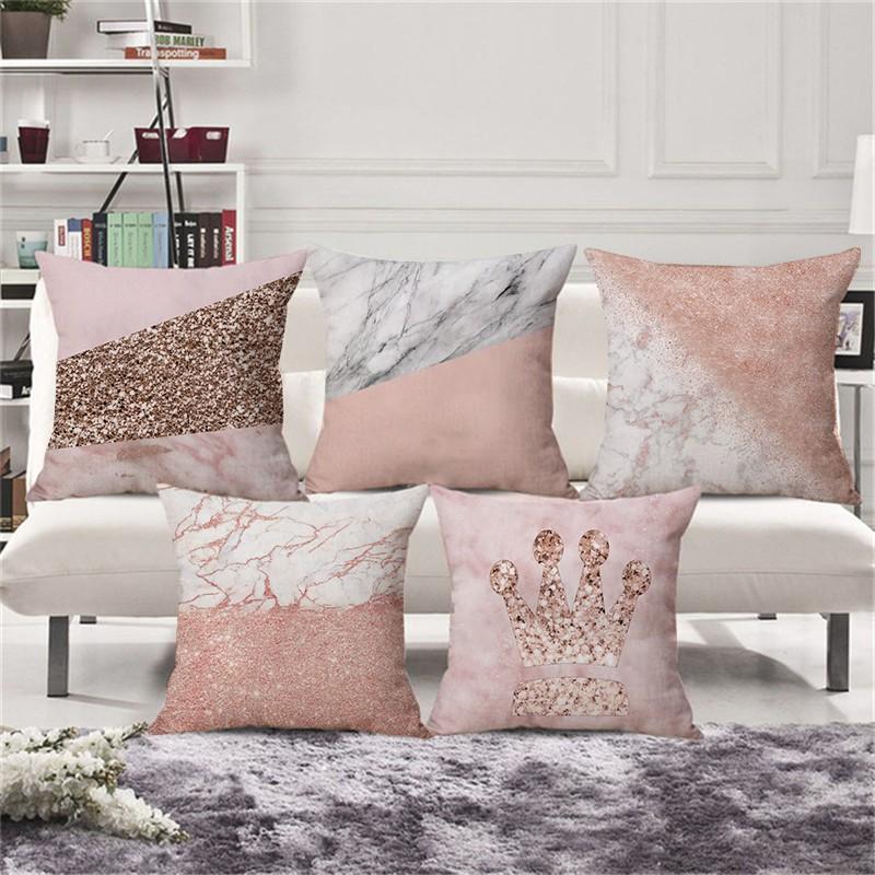 "Rose Gold Nordic Geometric Pillow Case Sofa Cushion Cover Car Home Decor 18x18/"""