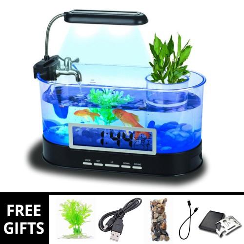 Fish & Aquariums Ecology Mini Fish Tank Integration Filter Mini Office Aquarium Home Decoration And Digestion Helping Pet Supplies