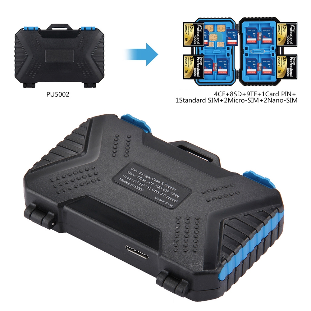 Anti-Shock Waterproof Compact Flash Card Holder Organizer Plastic Case for CF SD MSD Cards 24 Slots CF SD Card Camera Memory Cards Storage Case