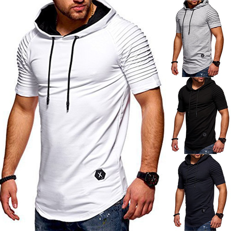 Generic Mens Casual Short Sleeve Hip Hop Pattern Print Hoodie T-Shirt