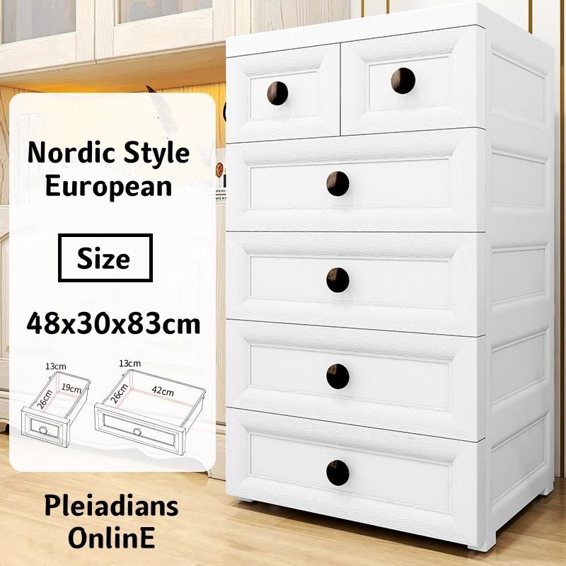 [ READY STOCK ]  50CM Colorful Drawer Cabinet Storage Baby Cloth 2 Lock Box Almari Perabut Furniture Box Jualan Murah Toy
