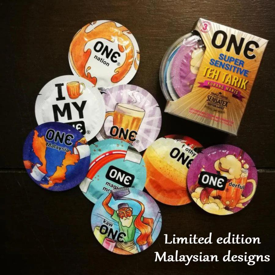 One Condom Super Sensitive Teh Tarik Condoms 3 Pcs [Free 1 Lube Sample]