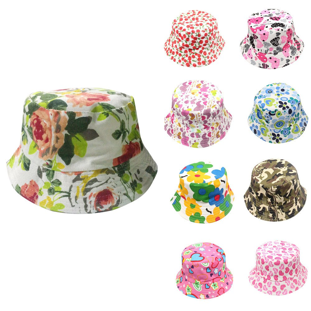 3e391df65 💐Topowner Toddler Baby Kids Boys Girls Floral Pattern Bucket Hats Sun  Helmet Cap