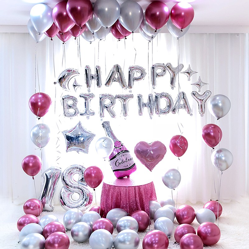18th Birthday party decorations Pink blue metal Latex ...