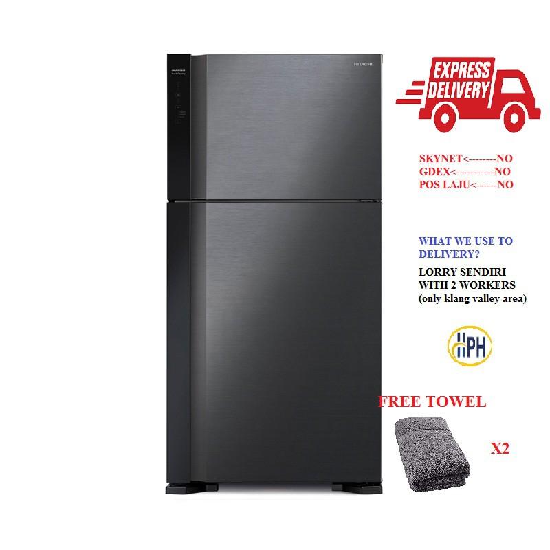 HITACHI R-V660P7M BBK 565L Inverter 2 Door Glass Refrigerator fridge