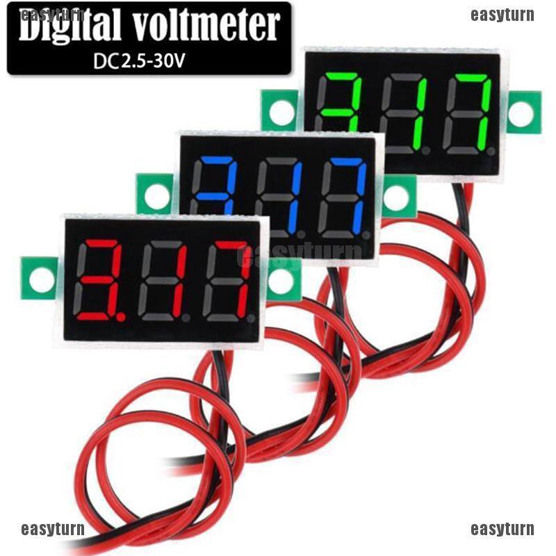 Mini DC 5-30V LED Panel Voltmeter Digital Voltage Display Meter 2-wire 3 Colors