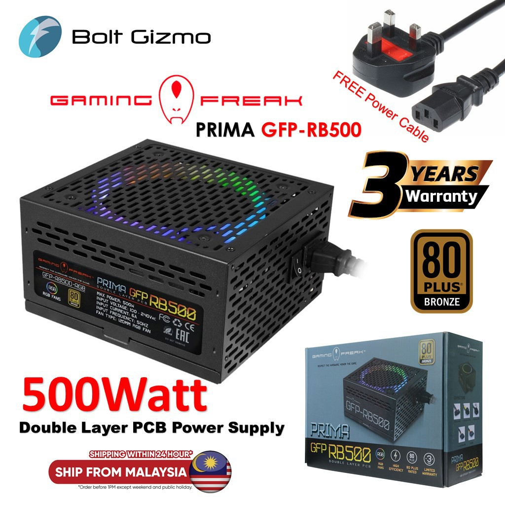 Gaming Freak Prima GFP RB500 80PLUS BRONZE Power supply (GFP-RB500-RGB)