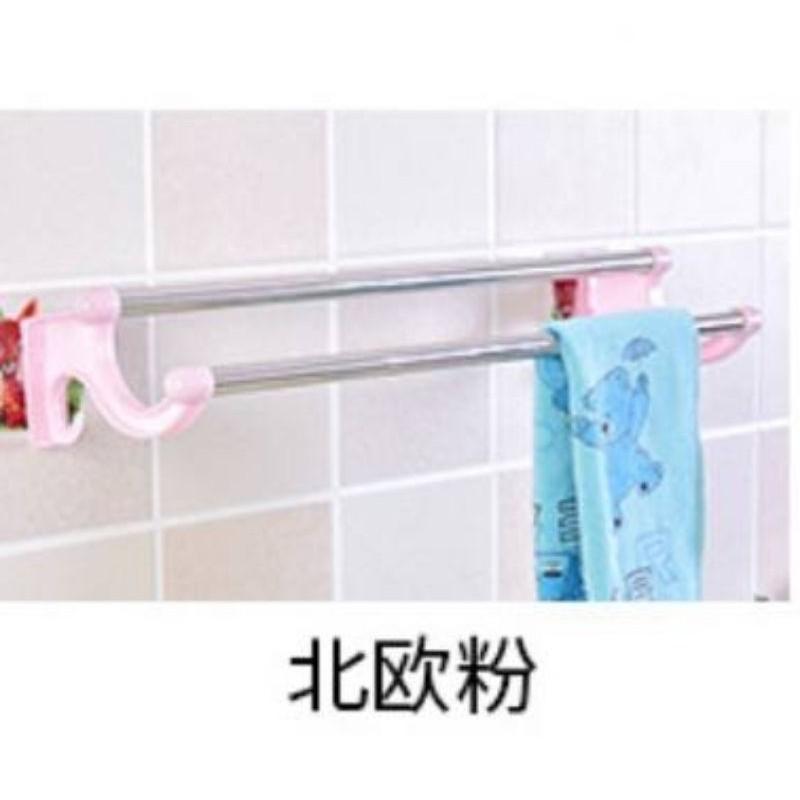 READY STOCK 免打孔毛巾杆双杆毛巾架卧室卫生间浴室置物吸壁式不锈钢毛巾架 hanger towel