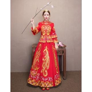 Beaunique Chinese Wedding Red Wedding Gown Kwa Cheongsam Long Sleeve