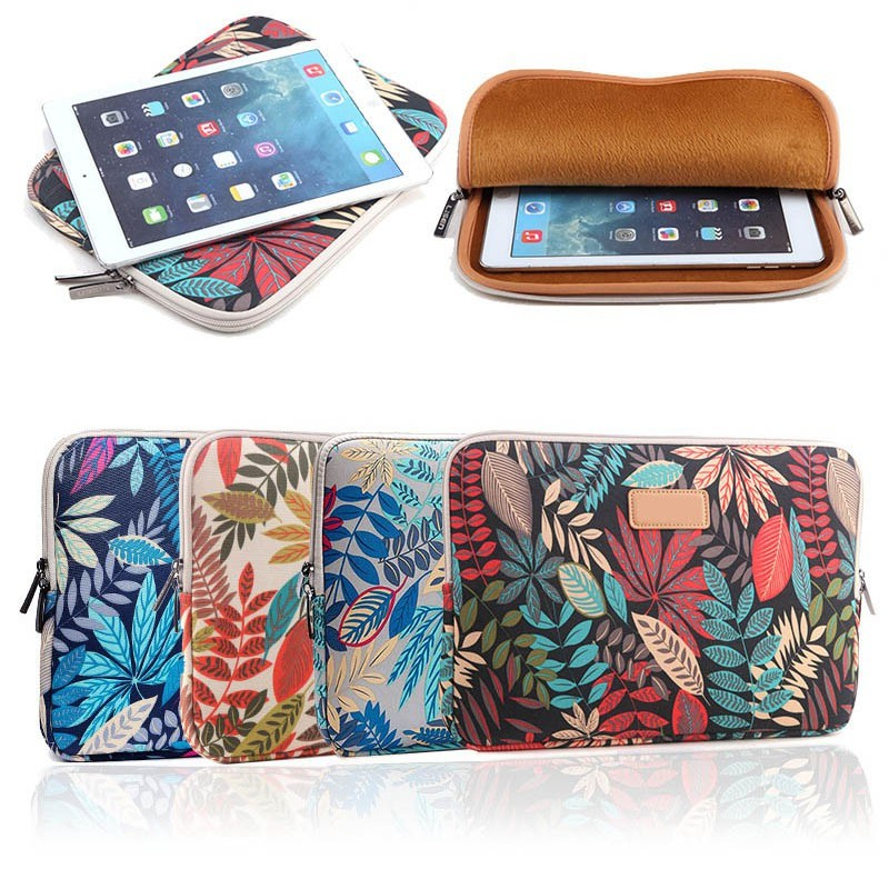 ❤ 10/12/13/14/15 Inch Laptop Bag Leaves Printed Zipped Table Sleeve Case  Notebook Computer Cover For Dell HP Asus Lenovo