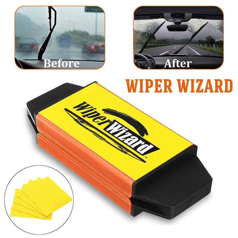 1Set Car Wiper Wizard Windshield Wiper Blade Restorer Cleaner with 5Wizard Wipes