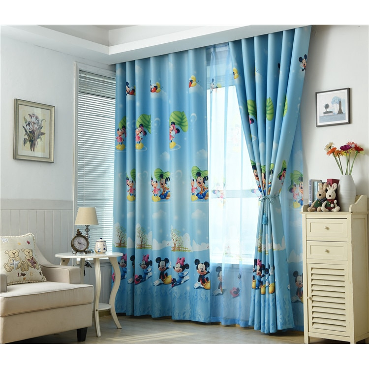 Blue Mickey Mouse Printed Kids Curtains For Boy Bedroom Children Room Window Shopee Malaysia