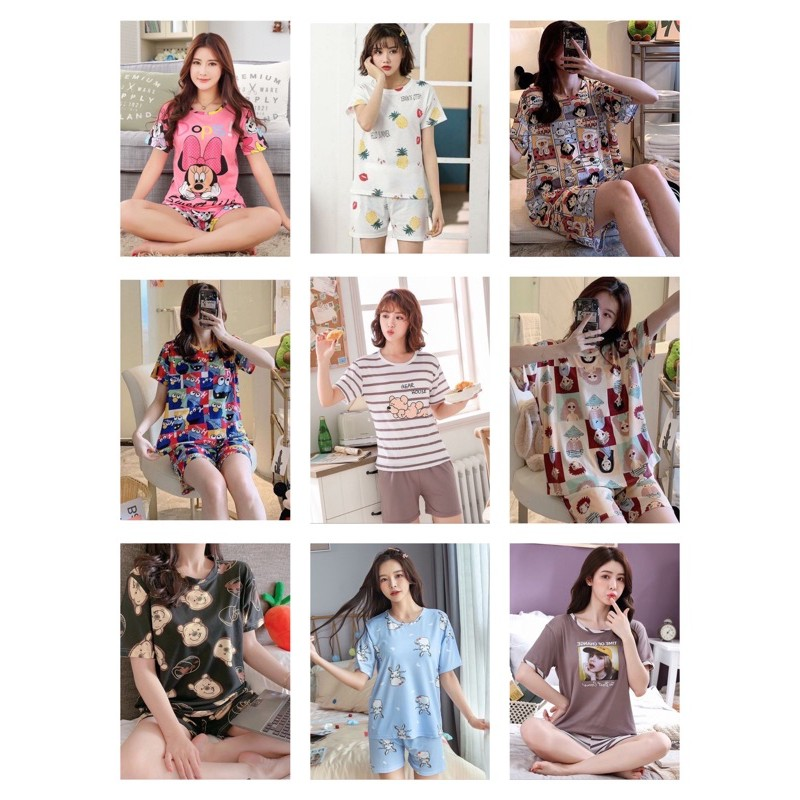 [READY STOCK] WOMEN SHORT SLEEVE & SHORT TROUSER SLEEPWEAR PYJAMAS WITH PRINTED DESIGN - FREE SIZE(FIT TO SIZE L)