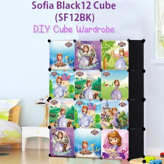 READY STOCK BM] ALMARI BAJU SOFIA BLACK 12C DIY Rack Storage Cabinet Wardrobe With Almari Hanger (SF12BK)