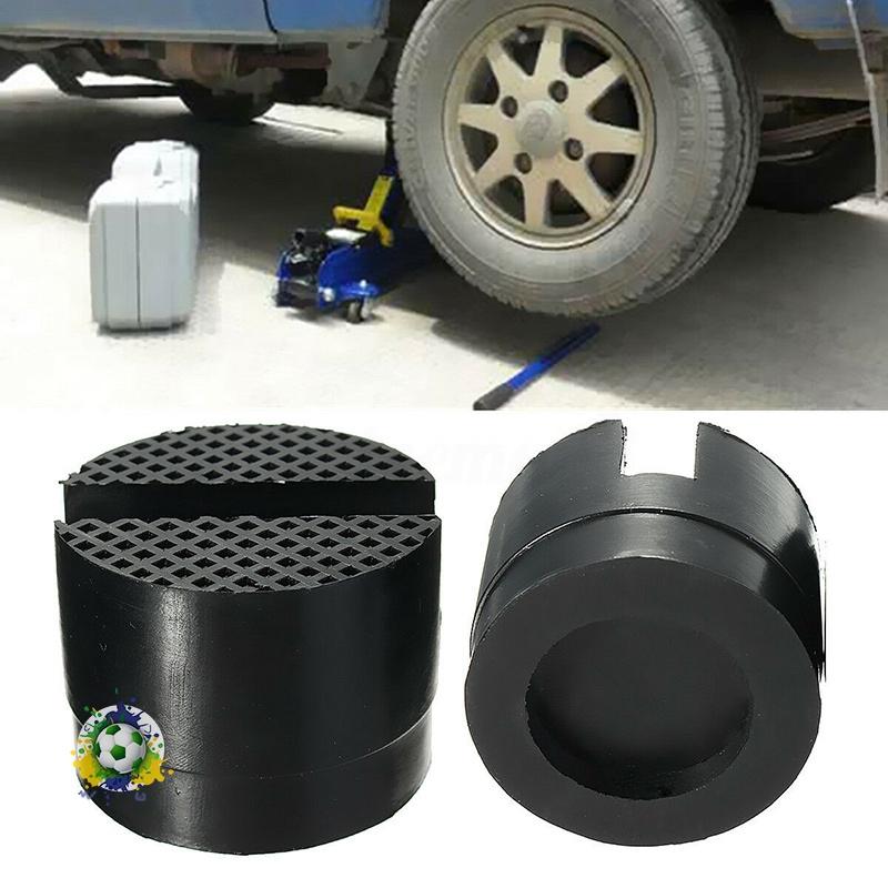 2Pcs Car SUV Slotted Frame Rail Floor Jack Guard Adapter Lift Rubber Pads Black