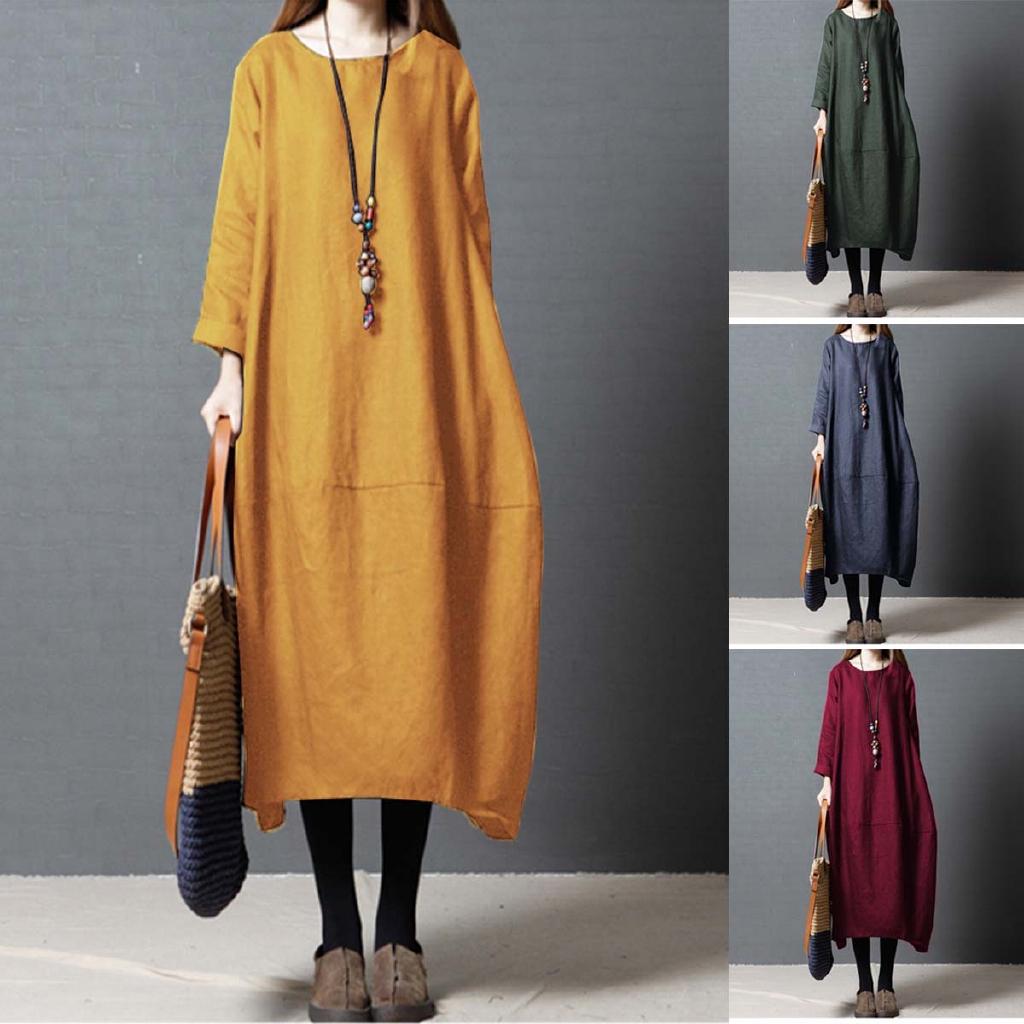 Women Vintage Loose Baggy Oversized Side Slit Long Sleeve Coat Jacket Outwear