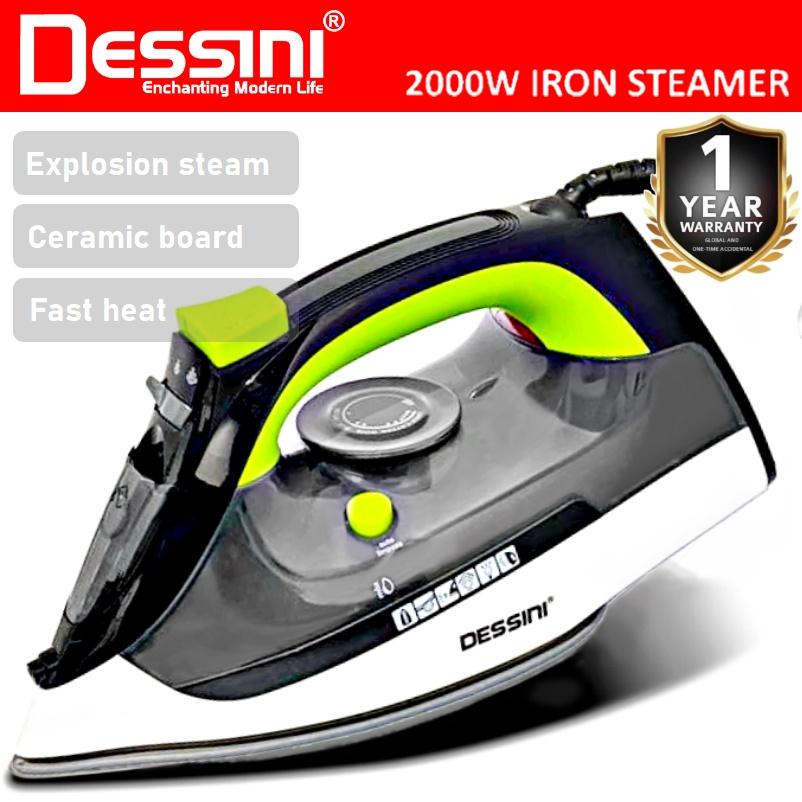 DESSINI ITALY 2000W Electric Ceramic Soleplate Garment Steam Iron Sprayer Steamer Clothes Brush / Seterika Baju