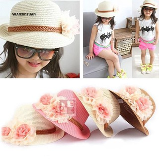 d7135674 ☼WX Spring Summer Flower Wide Brim Cocktail Party Travel Kid Girl Hat Cap |  Shopee Malaysia