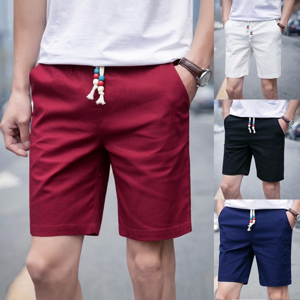 Mens Summer Linen Solid Beach Casual Elastic Waist Classic Fit Shorts