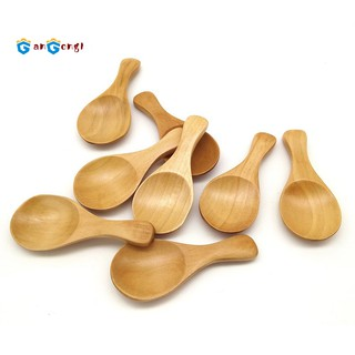 Ohomr 10pcs Small Wooden Spoons Handmade Cartoon Honey Teaspoons for Seasoning Coffee Tea Sugar Salt Home Accessories