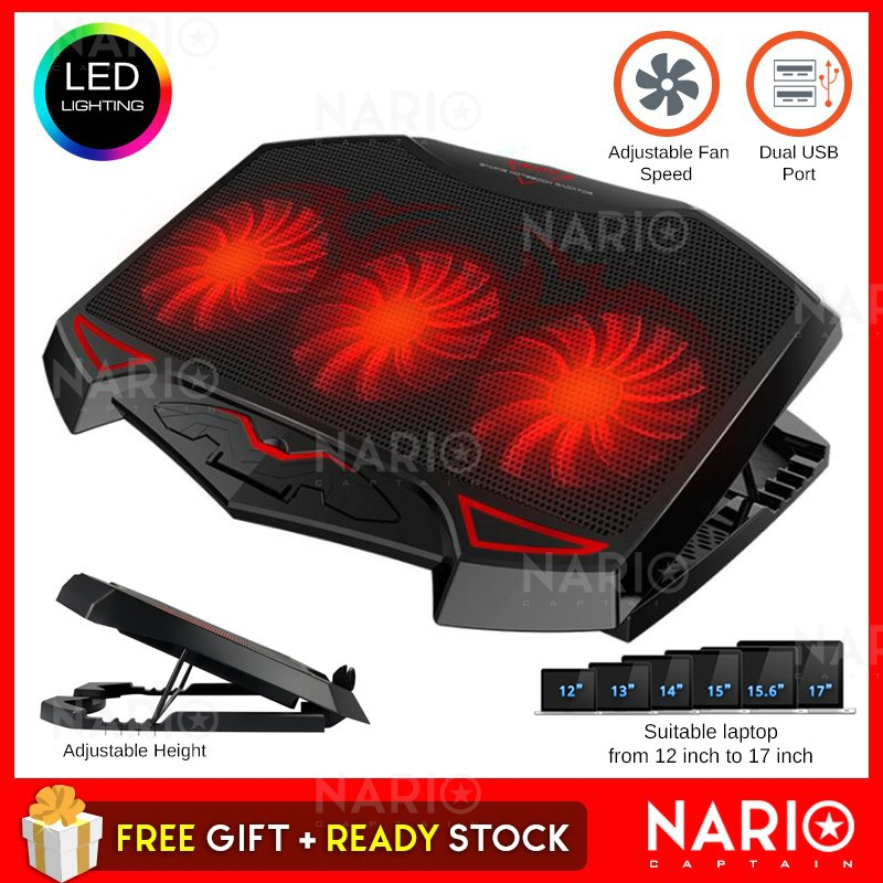 [Malaysia Warranty] Powerful Dual USB Laptop Cooling Pad Cooler LED 3 Fans  Adjustable Height 12-17