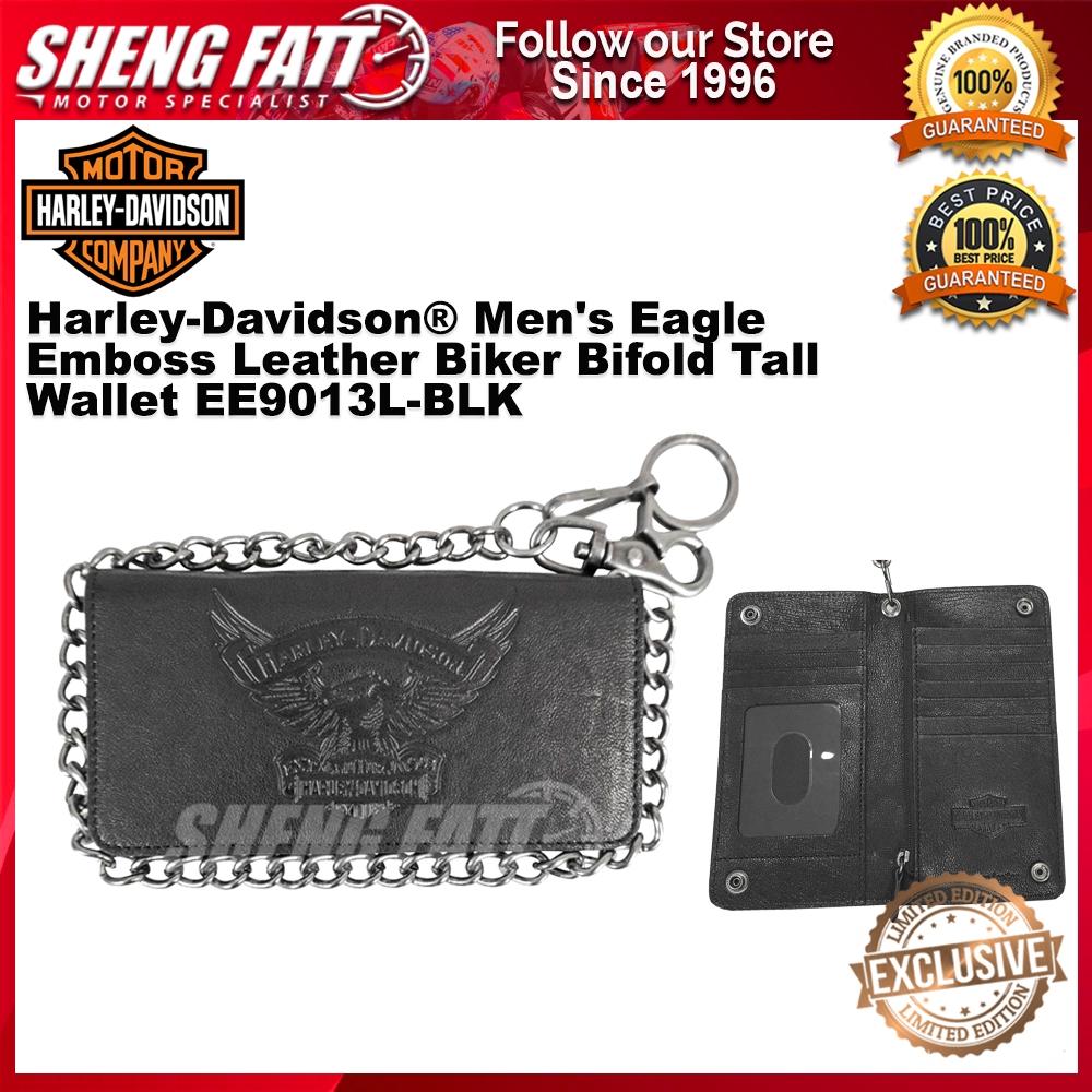 Harley-Davidson® Men's Eagle Emboss Leather Biker Bifold Tall Wallet EE9013L-BLK