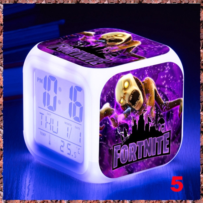 for FORTNITE Cartoon GAME Figures Night Light Alarm Clock Color Changing Toy