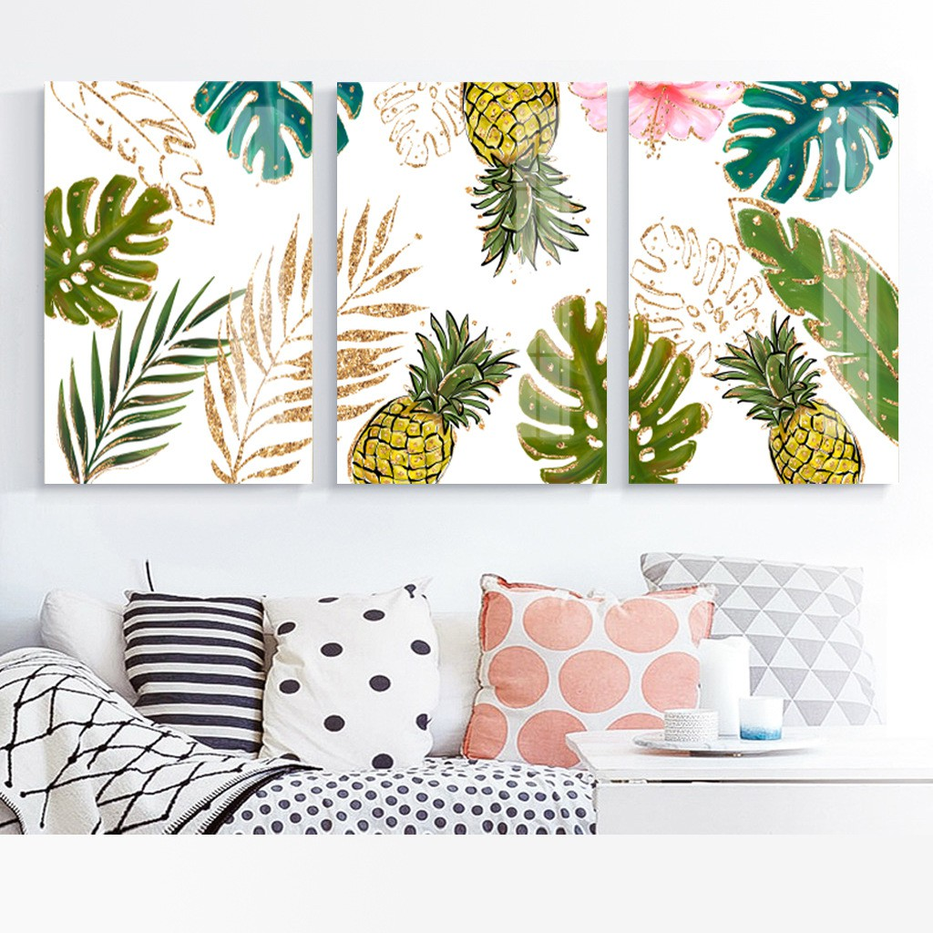 Simple Plant Nordic Fresh Wall Art Sticker Crystal Porcelain Painting Home Decor Shopee Malaysia