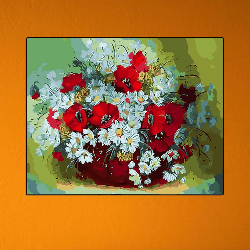 Digital Diy Flower Oil Painting Coloring By Numbers On Linen Canvas