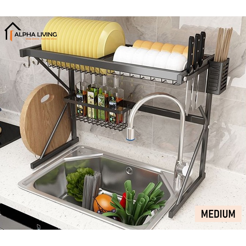 Rak pinggan mangkuk / Dish Drainer  / Double Sink Top Rack / Dish Rack / Kitchen Storage Basin Rack / Rak Dapur KTN0157